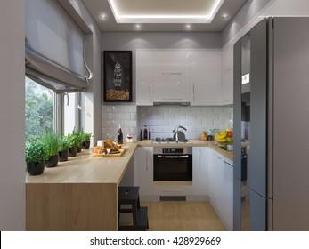 3d illustration kitchen interior design. Modern studio apartment in the Scandinavian minimalist style