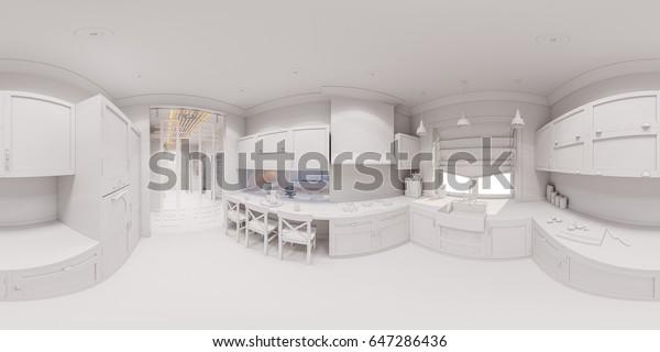 3d Illustration Kitchen Interior Design Scandinavian Stock Illustration 647286436