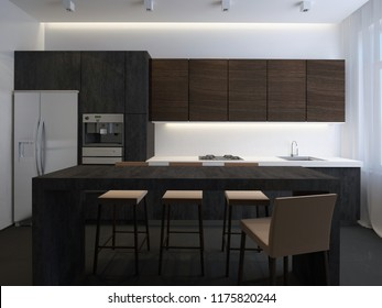 3D illustration kitchen with stone facade and island