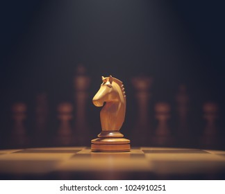 3D illustration. The knight in highlight. Pieces of chess game, image with shallow depth of field.