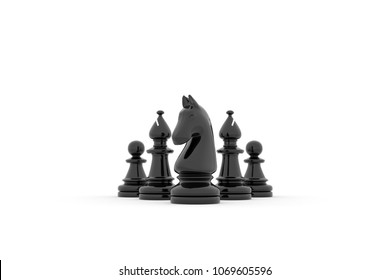 3d illustration - Knight leads Two bishop and two pawns on white background