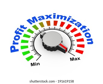 3d illustration of knob set at maximum for boost your profit and revenue