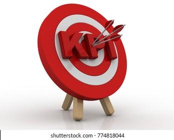 3d illustration KPI target concept