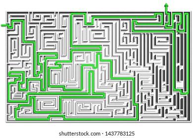 3D illustration. Labyrinth, 3d render. Path to find a solution.