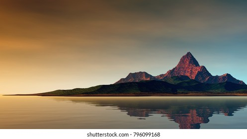 3D Illustration of landscape where one observes a mountain on calm waters in a serene atmosphere