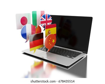 3d illustration. Laptop with bubble speech flags.  Learning languages online, translate concept. Isolated white background
