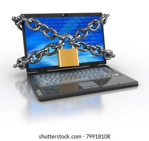 3d illustration of laptop computer locked