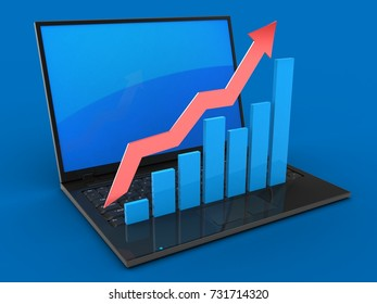 3d illustration of laptop computer over blue background with blue reflection screen and rising charts