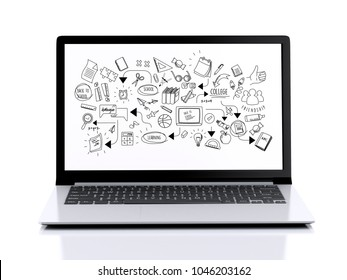 3d illustration. Laptop with education skecth on screen. Isolated white background. E-learning concept