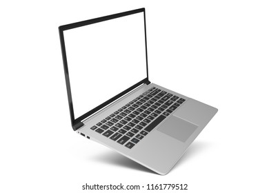 3D illustration Laptop isolated on white background. Laptop with empty space, screen laptop at an angle.