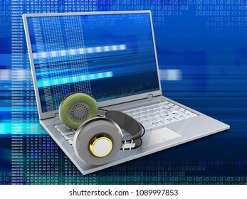 3d illustration of laptop over digital background with digital screen and headphones