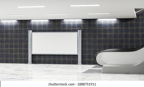 3D illustration, large blank advertising billboard near the basement escalator in transport building, Empty space to insert advertisement or information announcement on public, rendering