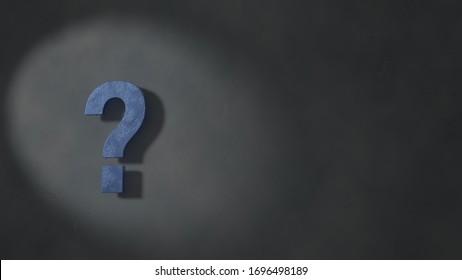 3d illustration of a large, blue concrete question mark standing out in the spotlight, casting a long shadow on a dark gray concrete background.