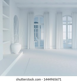 3d illustration. The large hall in white computer stuff