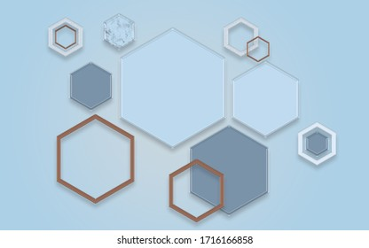 3d illustration, large hexagons and hexagonal frames on a blue background