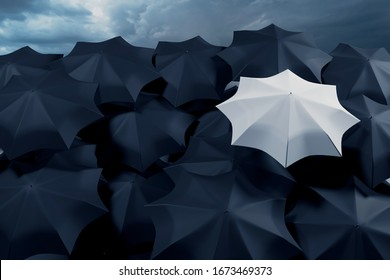 3D illustration of a large number of black umbrellas and one white against a stormy sky. Weather forecast - rains and showers.