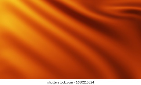 3D illustration of Large Orange Flag fullscreen background in the wind with wave patterns