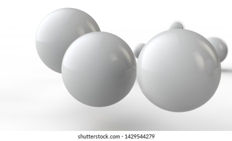 3D illustration of large and small white balls, spheres, geometric shapes isolated on a white background. Abstract, futuristic, the image of objects of ideal form. 3D rendering of the idea of order