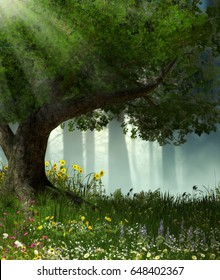 3D illustration of a large tree in an enchanted romantic forest.
