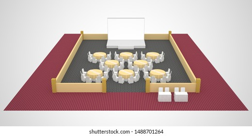 3d illustration layout design round table with stage blank backdrop and receptionist registration table. High resolution image isolated