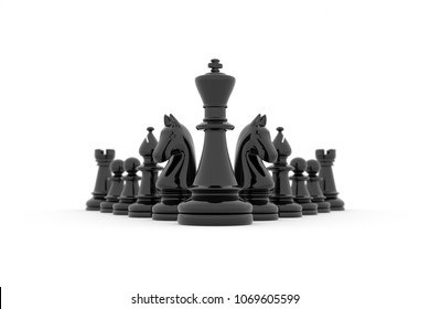 3d illustration - Leadership: King's team in its entirety on white background