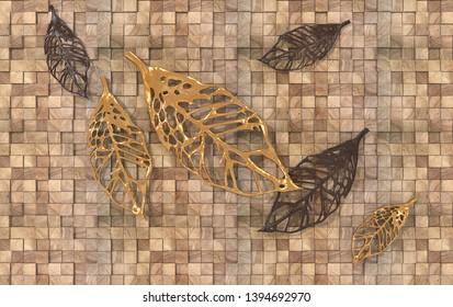 3d Illustration of leaves background wallpaper-3D Wallpaper