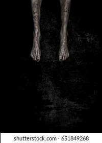 3d illustration of Leg of evil on grunge background