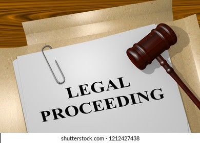 3D illustration of LEGAL PROCEEDING title on legal document