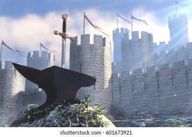 3D illustration of legend about king Arthur the sword in anvil and stone