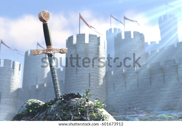 3D illustration of legend about king Arthur the sword in stone