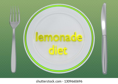 3D illustration of lemonade diet title on a white plate, along with silver knif and fork, on a yellow gradient background.