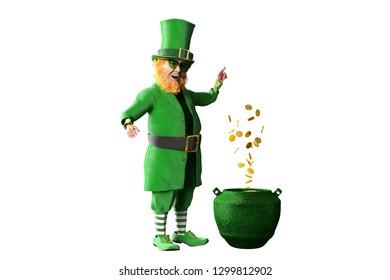 3D Illustration of Leprechaun for st patricks day