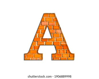 3D illustration, Letter A, brick structure, alphabet, font, architecture pattern, cement  stone material texture, isolated on white, design element, brown  typographic