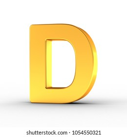 3D Illustration of the Letter D as a polished golden object over white background with clipping path for quick and accurate isolation.