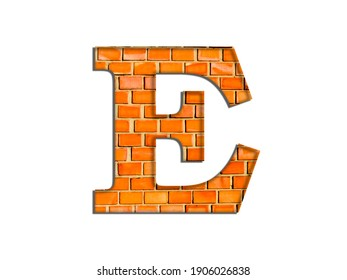 3D illustration, Letter E, brick structure, alphabet, font, architecture pattern, cement  stone material texture, isolated on white, design element, brown  typographic
