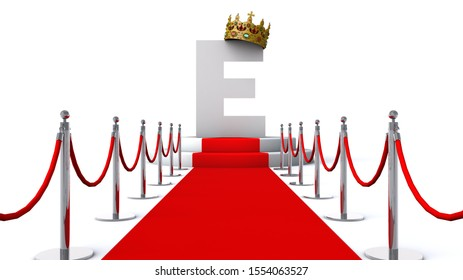 3D illustration of letter E wearing a crown on red carpet