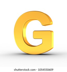 3D Illustration of the Letter G as a polished golden object over white background with clipping path for quick and accurate isolation.
