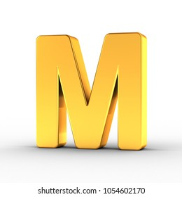 3D Illustration of the Letter M as a polished golden object over white background with clipping path for quick and accurate isolation.