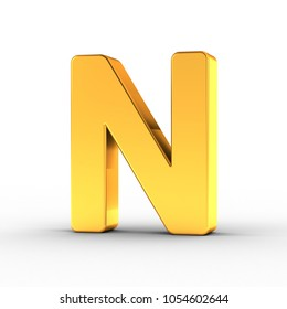 3D Illustration of the Letter N as a polished golden object over white background with clipping path for quick and accurate isolation.