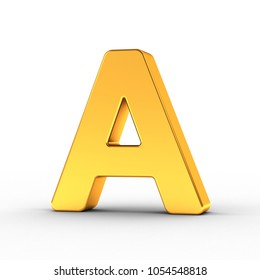 3D Illustration of the Letter A as a polished golden object over white background with clipping path for quick and accurate isolation.