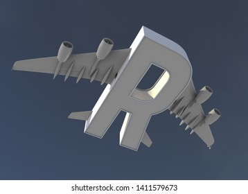 3D illustration of letter R with plane wings