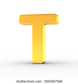 3D illustration of the Letter T as a polished golden object over white background with clipping path for quick and accurate isolation.