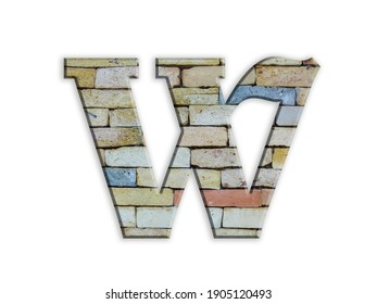 3D illustration, Letter W, brick structure, alphabet, font, architecture pattern, cement  stone material texture, isolated on white, design element , , typographic