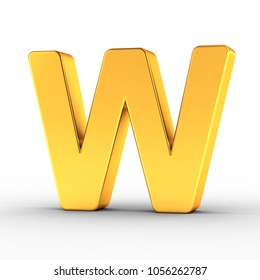 3D illustration of the Letter W as a polished golden object over white background with clipping path for quick and accurate isolation.