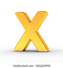 3D illustration of the Letter X as a polished golden object over white background with clipping path for quick and accurate isolation.