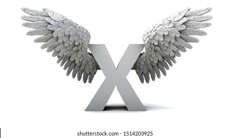 3D illustration of letter X  with wings
