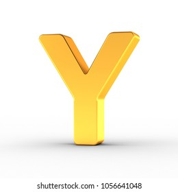 3D illustration of the Letter Y as a polished golden object over white background with clipping path for quick and accurate isolation.