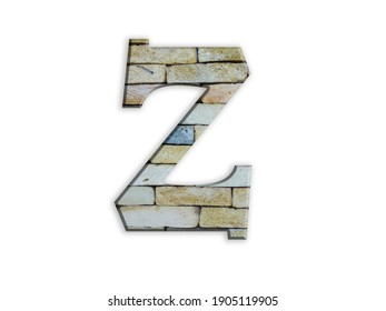 3D illustration, Letter Z, brick structure, alphabet, font, architecture pattern, cement  stone material texture, isolated on white, design element , , typographic