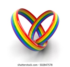 3D Illustration. LGBT rings Image with clipping path