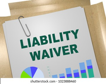 3D illustration of LIABILITY WAIVER title on business document